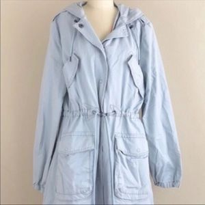 Light Blue Hooded Parka Utility Jacket